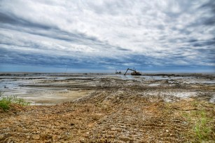 TNCA crews have built 1.5 miles of breakwaters around the mouth of the Bayou La Batre navigation channel. (Lisa Johnson)
