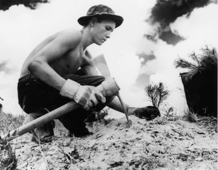 A Civilian Conservation Corps enrollee plants a tree. The Civilian Conservation Corps (CCC) was a public work relief program for unemployed men, providing vocational training through the performance of useful work related to conservation and development of natural resources in the United States from 1933 to 1942. Location unknown, USA, circa 1938. (Photo by FotosearchGetty Images).