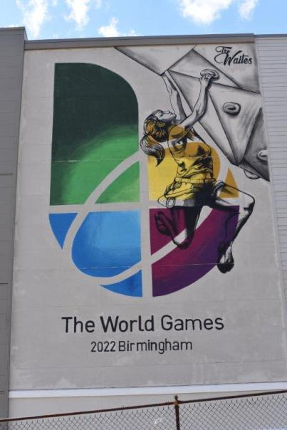 A mural on the Waites Building reminds everyone the World Games 2022 will be held in Birmingham. (contributed)