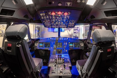 Visitors can see and touch the cockpit of an Airbus jet. (contributed)