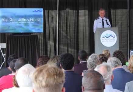 Maj. Gen. Jeffrey Hinrich of Air University at Maxwell Air Force Base speaks at the Montgomery Whitewater groundbreaking. (Sara Herman / Alabama NewsCenter)
