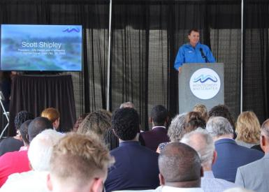 Scott Shipley, a member of multiple U.S. Olympic Kayak Teams, speaks at the Montgomery Whitewater groundbreaking. (Sara Herman / Alabama NewsCenter)