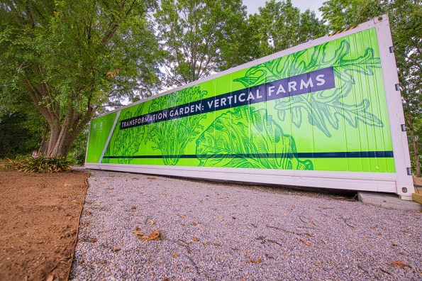 Auburn University's College of Agriculture, in partnership with Campus Dining, is using converted, high-tech shipping containers as self-contained vertical farms to grow produce for students. (Auburn University)