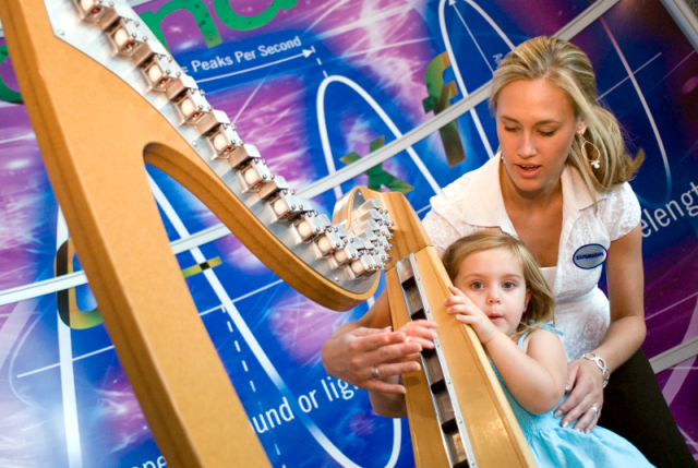Playing music with the Laser Harp at The Gulf Coast Exploreum Science Center