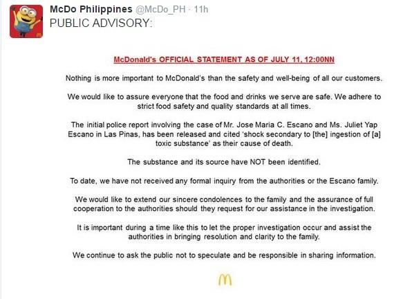 mcdo statement