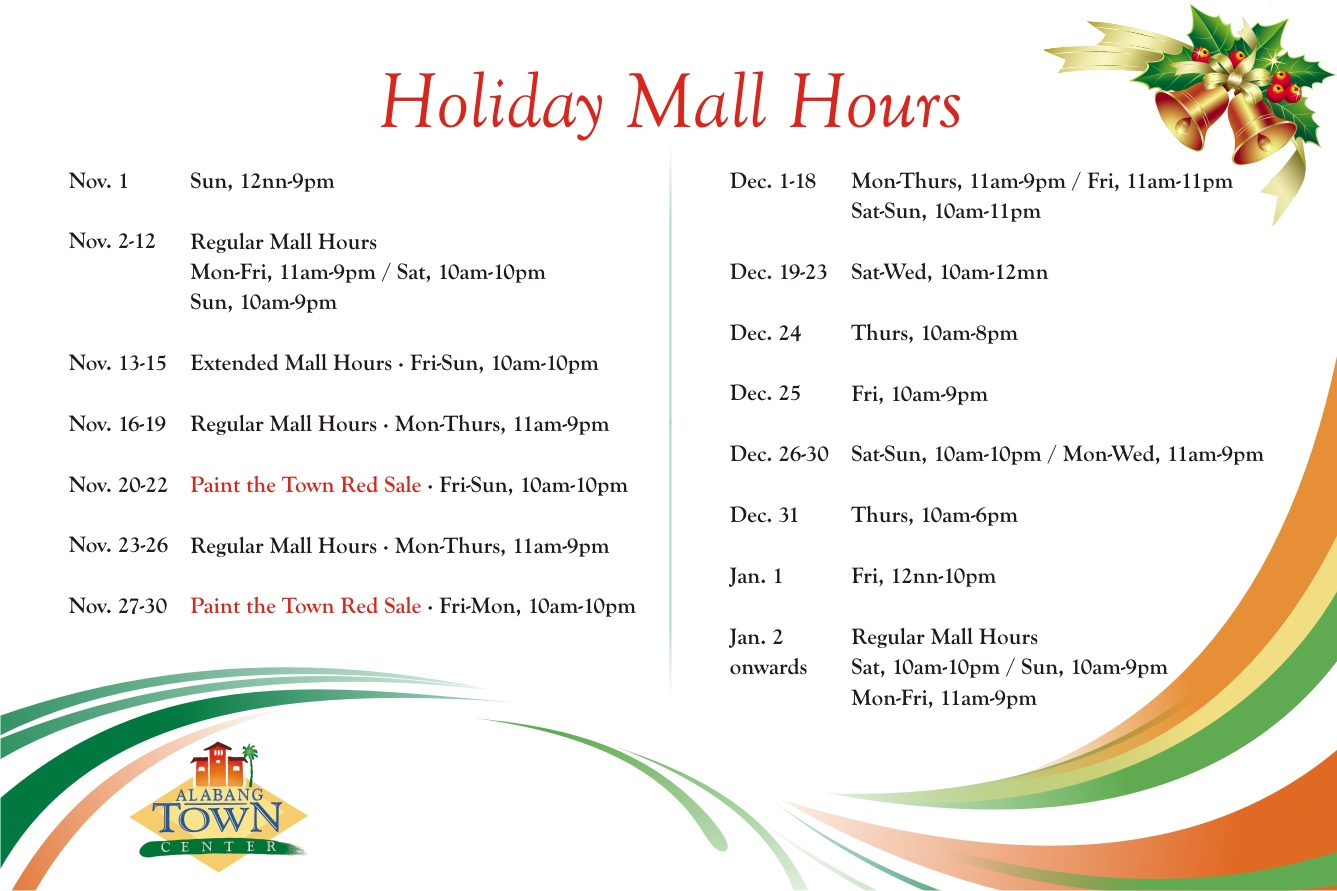 Holiday mall hours