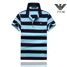 Men Polo Shirt Striped Cotton