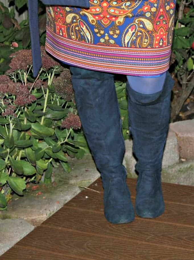 over the knee blue suede boots
