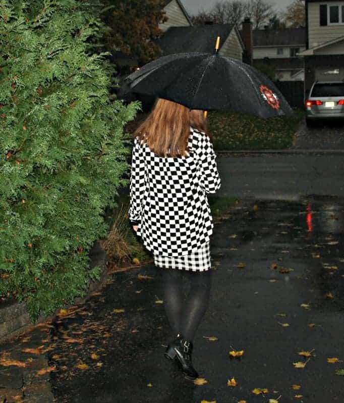checks in the rain