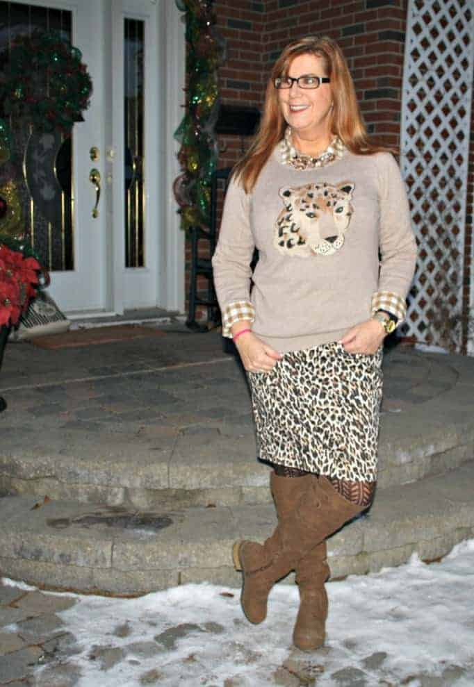 j crew leopard skirt and an old navy animal sweater