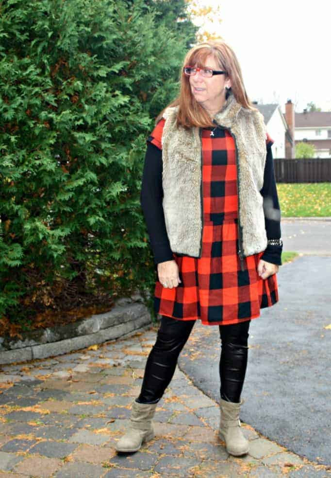 old navy buffalo dress and fur vest