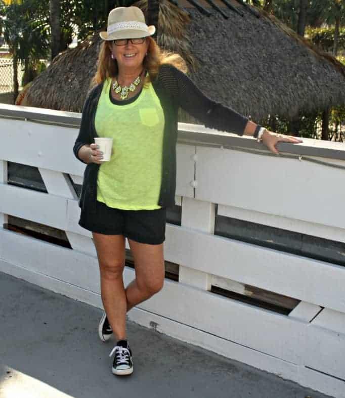 J Crew shorts, Neon Tank from the Gap, Sweater Banana Republic, Fedora and Chucks. Yosa Necklace