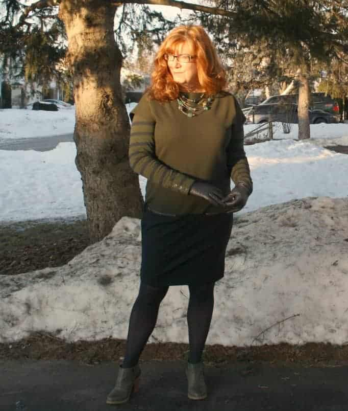Joe Fresh Army Green Colour Block Dress with nine west booties