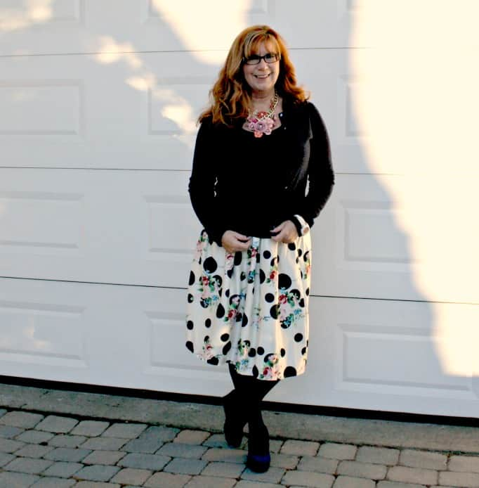 Sheinside Floral Skirt, J Crew Cardigan and Yosa Necklace