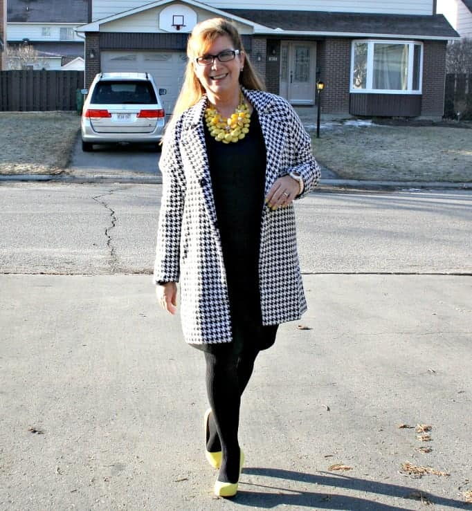 Sheinside oversize houndstooth coat with LBD and yellow accessories