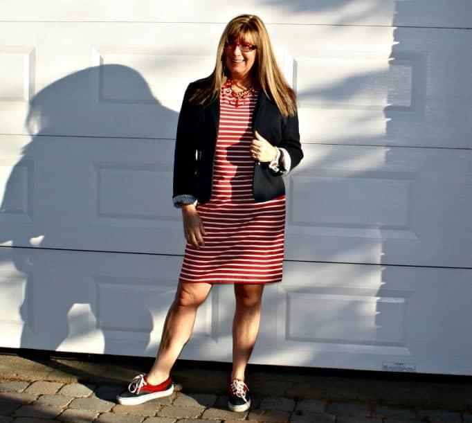 Nautical look, Van sneakers, blazer and stripe dress