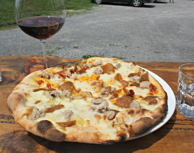 Norman Hardie pizza and wine