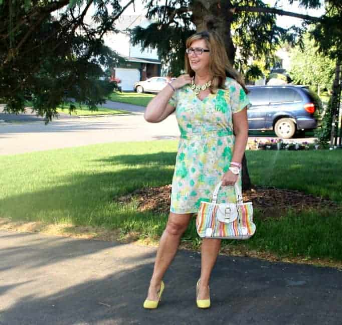 forever 21 Floral Dress , Shoe Dazzle Yellow signature pumps and Isaac Mizhari purse