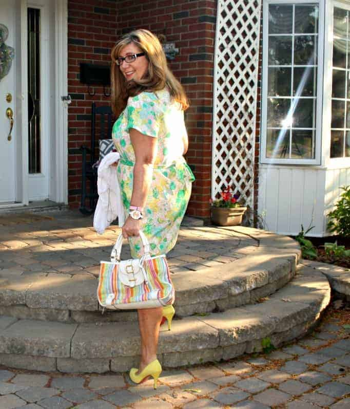 forever 21 Floral Dress and , Shoe Dazzle Yellow signature pumps