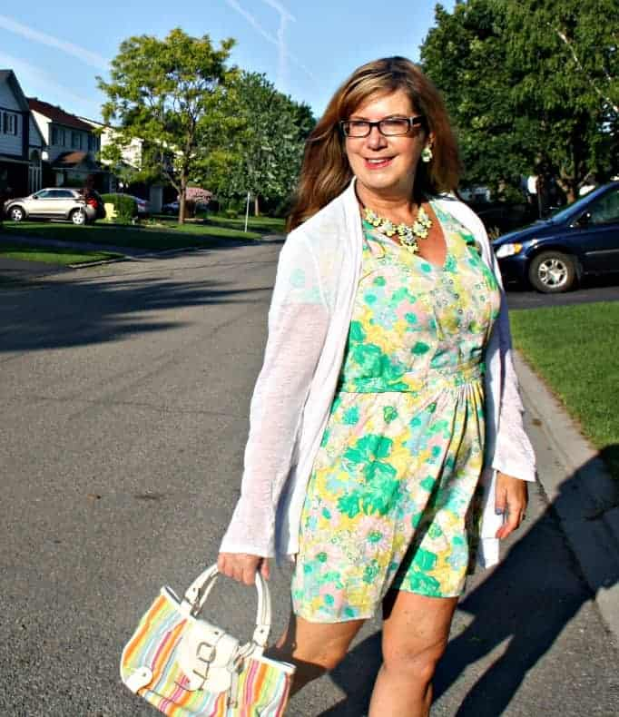 forever 21 Floral Dress and Cardigan,with an Isaac Mizhari purse