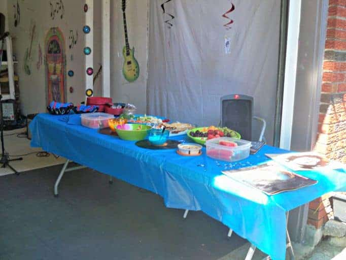 buffet table for rock and roll party