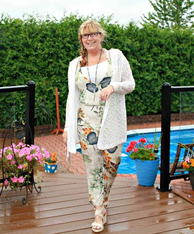Shein Tropical Jumpsuit, cream wedges and a crochet sweater