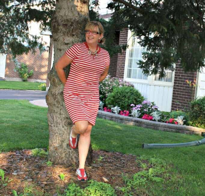 old navy stripe dress and  red sneakers
