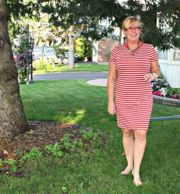 old navy red  stripe dress