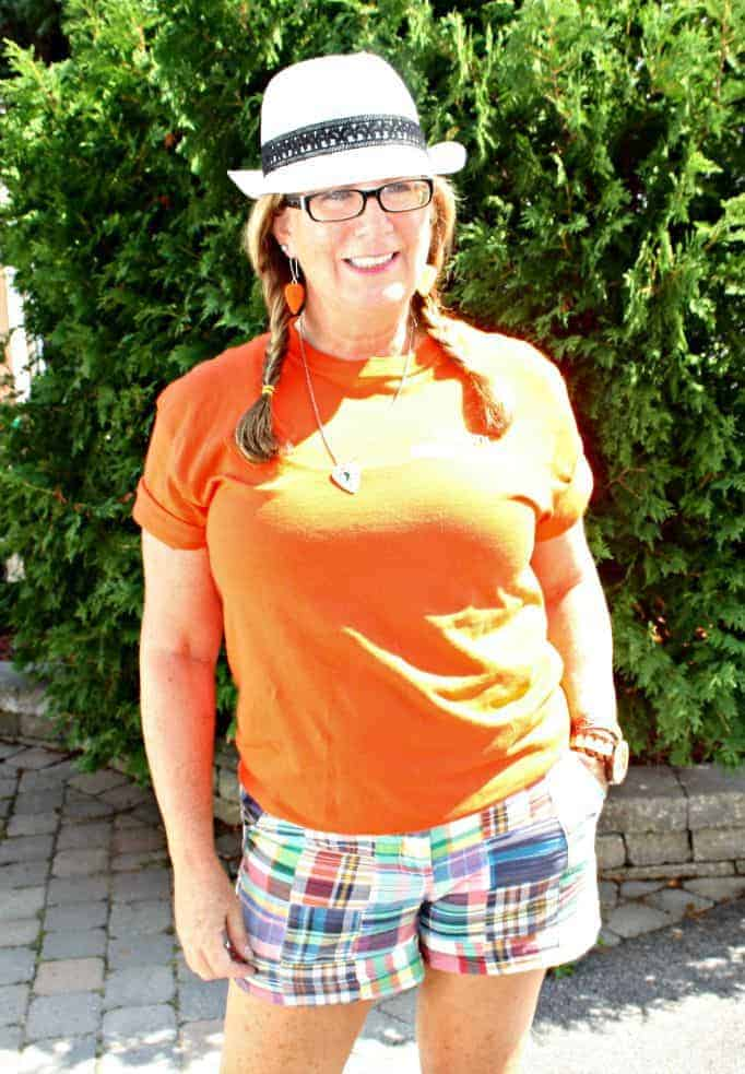 NDP shirt and J Crew shorts with fedora
