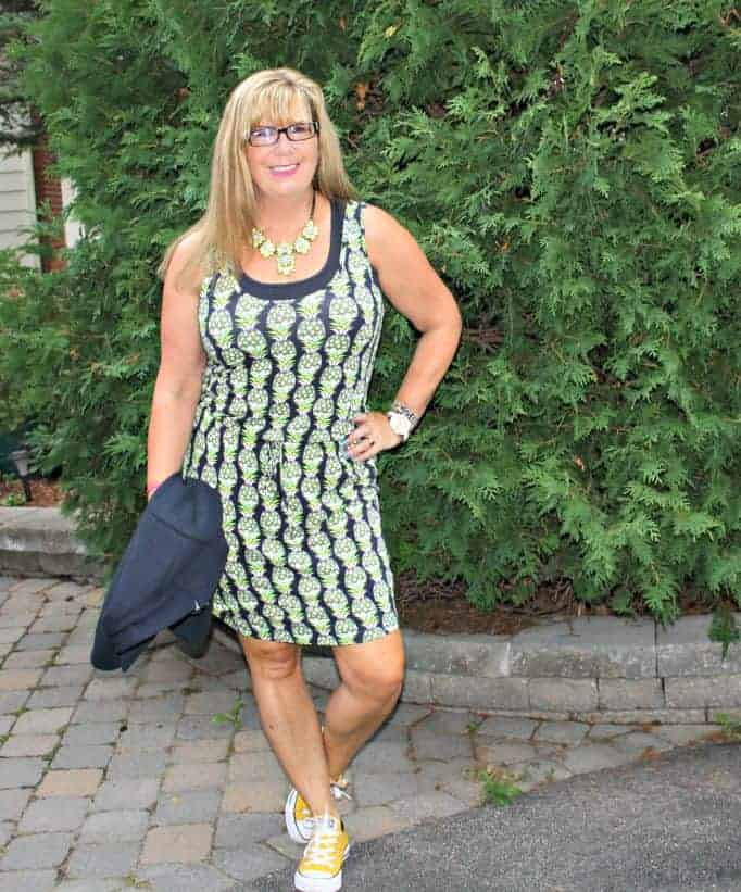 Banana republic pineapple dress with Yosa necklace and yellow converse
