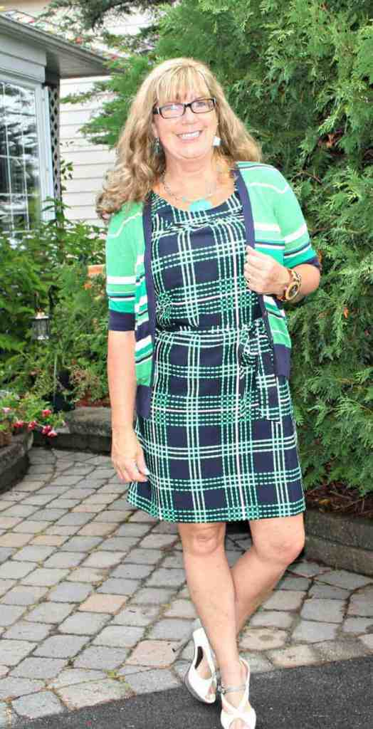 green and navy Banana Republic dress and Michael Kors sweater