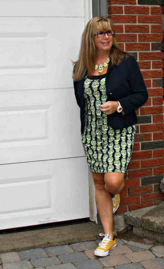 pineapple dress and navy blazer with kate spade watch