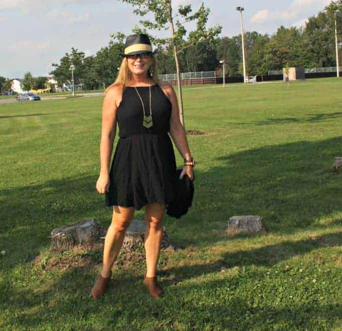 Forever 21 chiffon dress, with fedora and booties