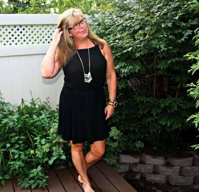 Backyard in a Forever 21 black dress