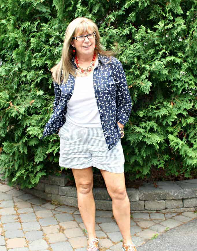 H&M stripe shorts and anchor blouse