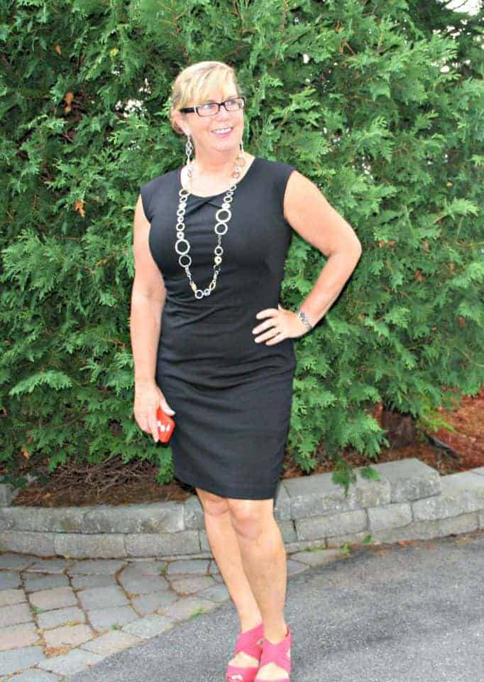 a little black dress and a statement necklace, with Jacelyn Smith shoes