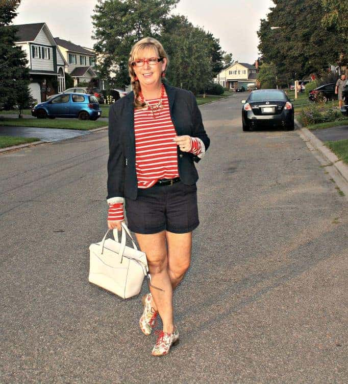 Navy J Crew shorts and a blazer with Kate Spade Beau bag, with Old Navy striped shirt