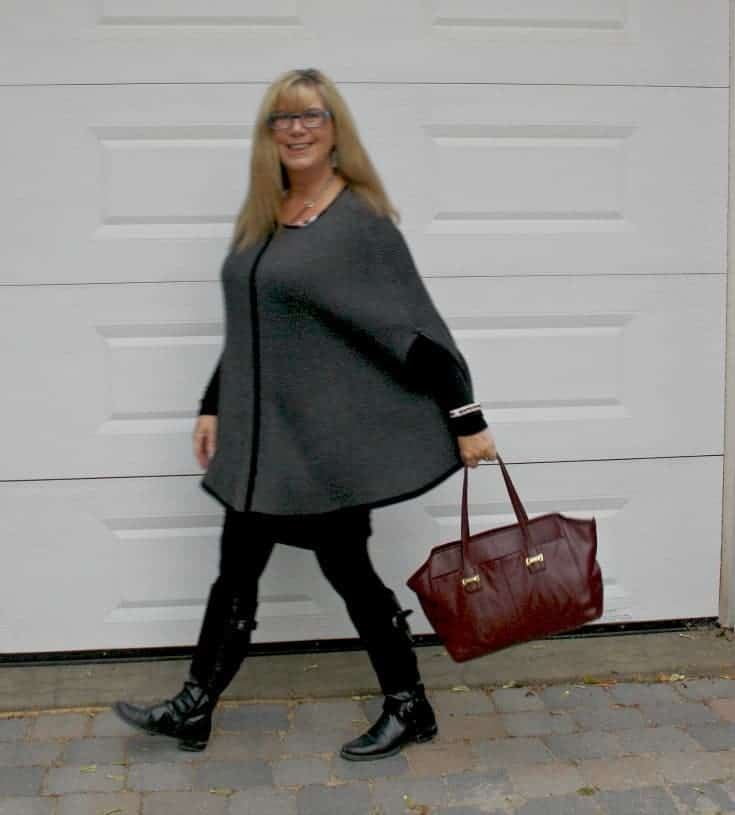 strolling with a merlot coach bag