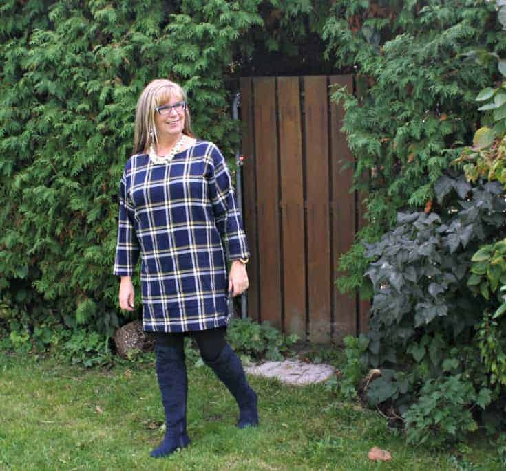 Blue suede boots from Giant tiger and Old Navy Plaid Dress