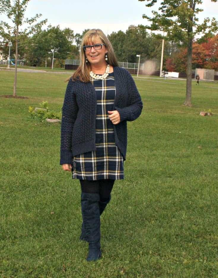 Blue suede boots from Giant tiger and Old Navy Plaid Dress with Forever 21 cardigan