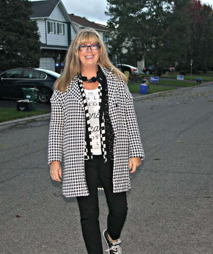 shein houndstooth coat