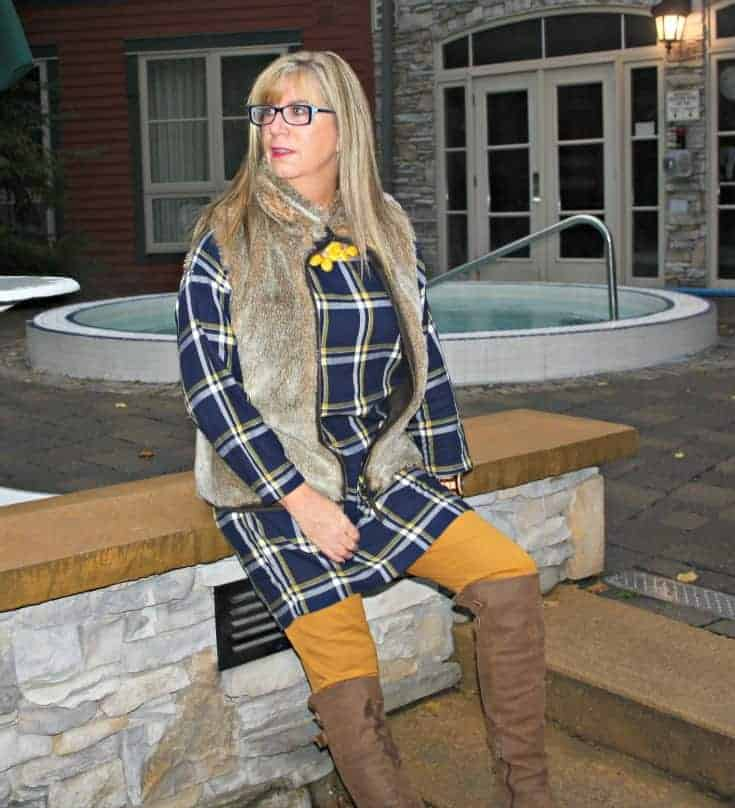 Old navy plaid tunic and pixie pants with a fur vest and OTK boots