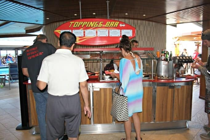 toppings bar at Guys Burger Joint on the Carnival Glory
