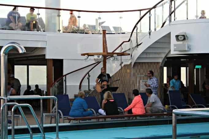 Poolside entertainment on the Carnival Glory