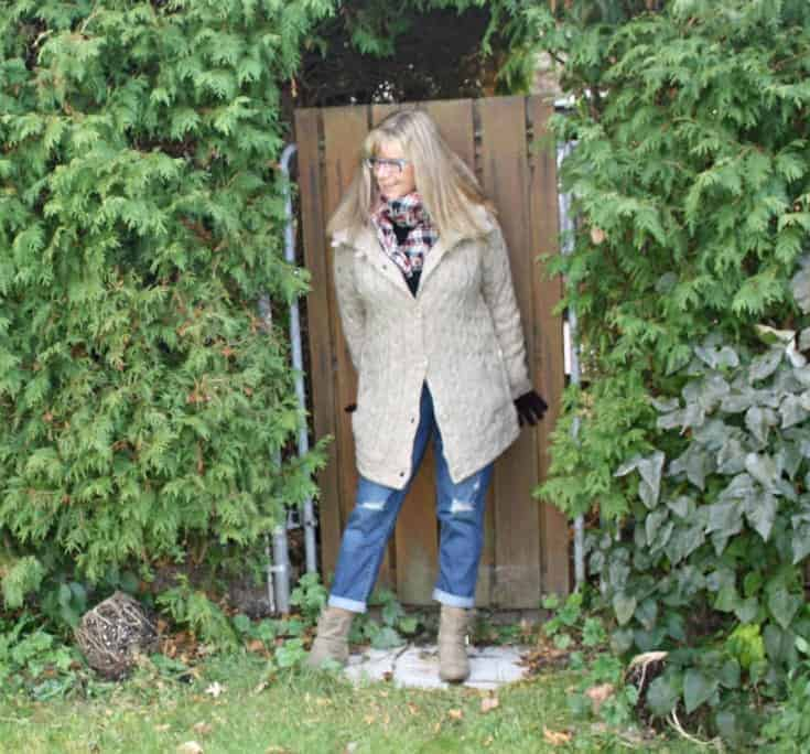 HBC sweater and plaid scarf with Old Navy Boyfriend jeans