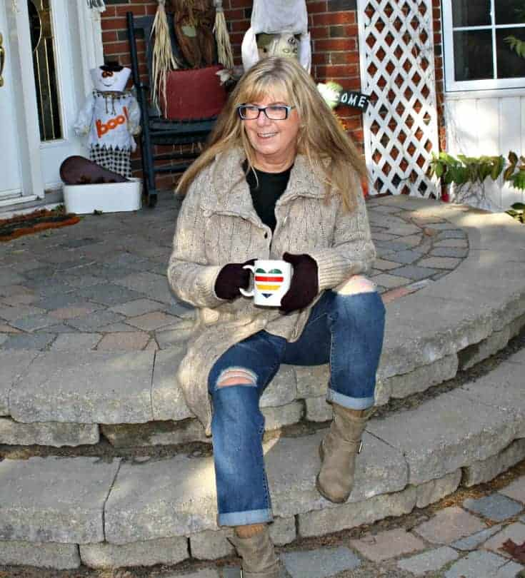 Hudson Bay Company sweater and plaid scarf with Old Navy Boyfriend jeans and George Boots