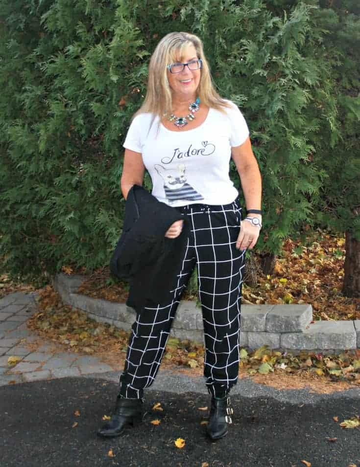 Target Jogger windowpane pants with J'adore tee and forever 21 boots