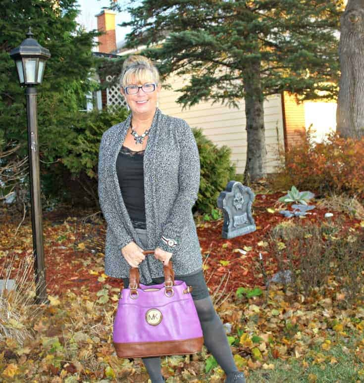 VanHeusen Tweed sweater, MK purse and Forever 21 Boots