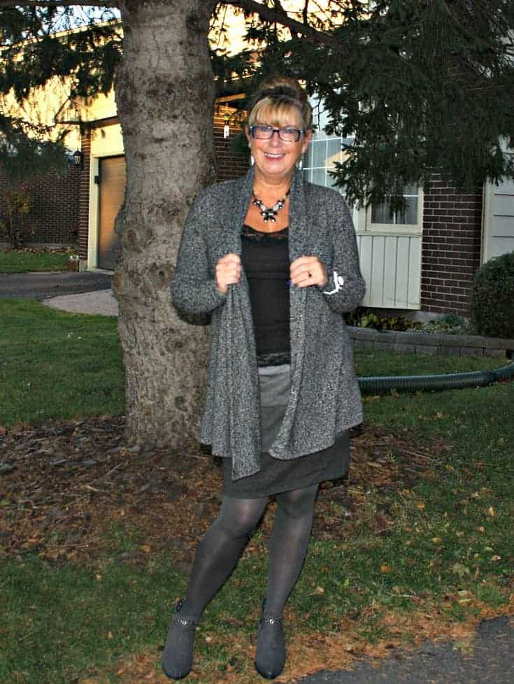 VanHeusen Tweed sweater and necklace, Tri coloured grey skirt and Forever 21 Boots