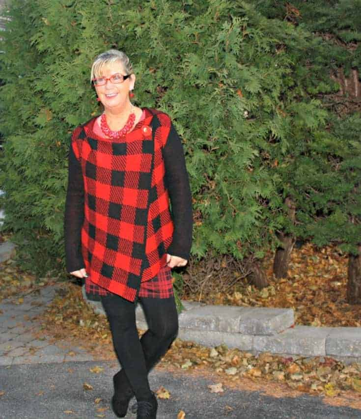 Hudsons Bay Company Red plaid hooded sweater with Wedge boots and LNBF leggings in black